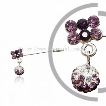 Pin Brooch 7016#, Purple Amethyst, 2pcs/pack
