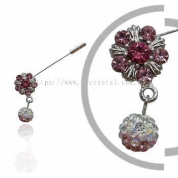 Pin Brooch 7018#, Pink Rose, 2pcs/pack