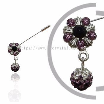 Pin Brooch 7018#, Purple Amethyst, 2pcs/pack