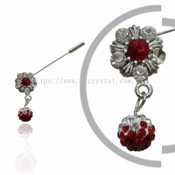 Pin Brooch 7018#, Red Light Siam, 2pcs/pack
