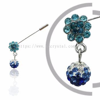 Pin Brooch 7019#, Blue, 2pcs/pack