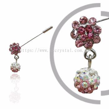 Pin Brooch 7019#, Pink Rose, 2pcs/pack