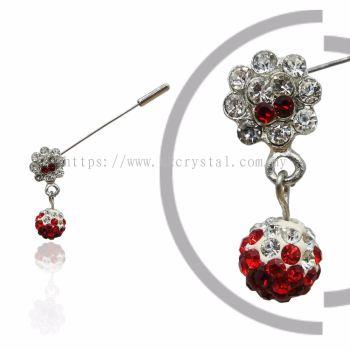 Pin Brooch 7019#, Red Light SIam, 2pcs/pack