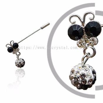 Pin Brooch 7020# (Butterfly), Black, 2pcs/pack