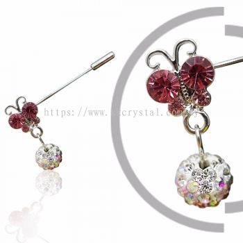 Pin Brooch 7020# (Butterfly), Pink Rose, 2pcs/pack