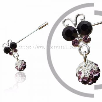 Pin Brooch 7020# (Butterfly), Purple Amethyst, 2pcs/pack