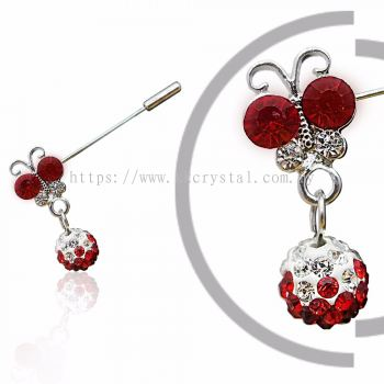 Pin Brooch 7020# (Butterfly), Red Light Siam, 2pcs/pack