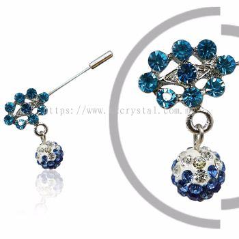 Pin Brooch 7021#, Blue, 2pcs/pack