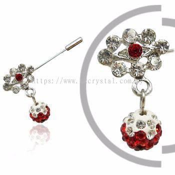 Pin Brooch 7021#, Red Light Siam, 2pcs/pack