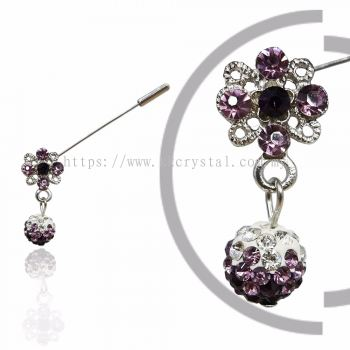 Pin Brooch 7022#, Purple Amethyst, 2pcs/pack