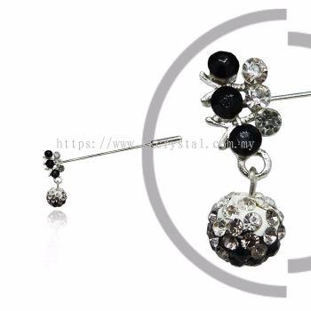 Pin Brooch 7031#, Black, 2pcs/pack