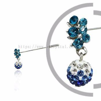 Pin Brooch 7031#, Blue, 2pcs/pack