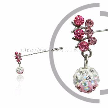 Pin Brooch 7031#, Pink Rose, 2pcs/pack