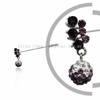 Pin Brooch 7031#, Purple Amethyst, 2pcs/pack