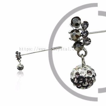 Pin Brooch 7031#, Silver, 2pcs/pack