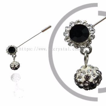 Pin Brooch 7039#, Black, 2pcs/pack