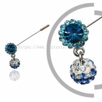 Pin Brooch 7039#, Blue, 2pcs/pack