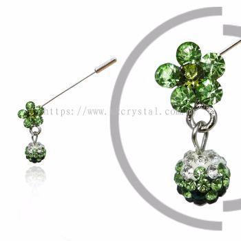 Pin Brooch 7040#, Green Olivine, 2pcs/pack