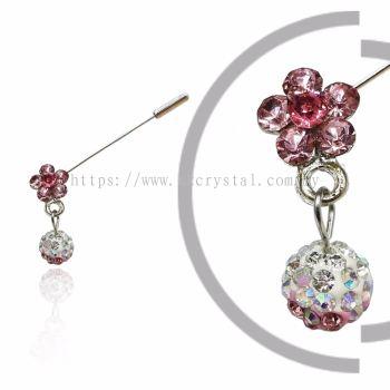 Pin Brooch 7040#, Pink Rose, 2pcs/pack