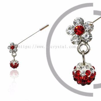 Pin Brooch 7040#, Red Light Siam, 2pcs/pack