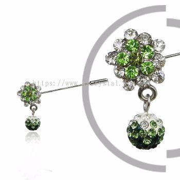 Pin Brooch 7047#, Green Olivine, 2pcs/pack