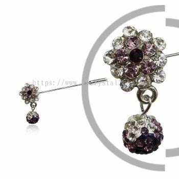 Pin Brooch 7047#, Purple Amethyst, 2pcs/pack