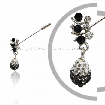 Pin Brooch 7032#_A, Black, 2pcs/pack