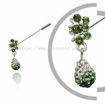 Pin Brooch 7032#_A, Green Olivine, 2pcs/pack