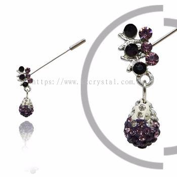 Pin Brooch 7032#_A, Purple Amethyst, 2pcs/pack