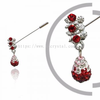 Pin Brooch 7032#_A, Red Light Siam, 2pcs/pack
