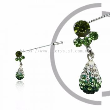 Pin Brooch 7045#_A, Green Olivine, 2pcs/pack