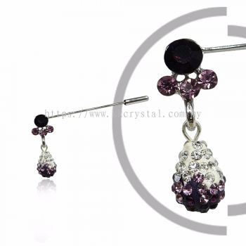 Pin Brooch 7045#_A, Purple Amethyts, 2pcs/pack