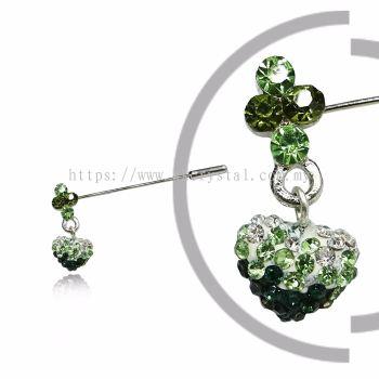 Pin Brooch 7046#_A, Green Olivine, 2pcs/pack