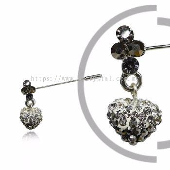 Pin Brooch 7046#_A, Silver, 2pcs/pack
