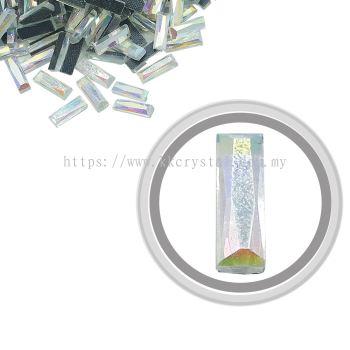 Flatback Hotfix 604, Rectangular (Multi Faceted), 4x12mm, Crystal AB, 360pcs/pack
