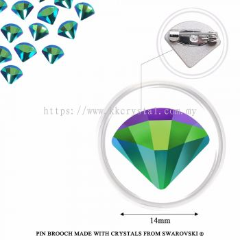 Pin Brooch Made With Crystals from Swarovski®, 2714 Fan 14mm, Scarabaeus Green