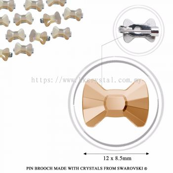 Pin Brooch Made With Crystals from Swarovski®, 2858 Bow Tie 12x8.5mm, Golden Shadow
