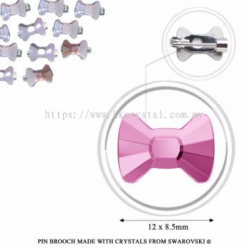 Pin Brooch Made With Crystals from Swarovski®, 2858 Bow Tie 12x8.5mm, Light Amethyts