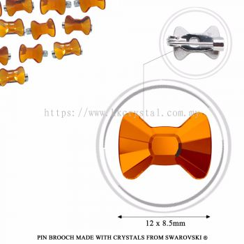 Pin Brooch Made With Crystals from Swarovski®, 2858 Bow Tie 12x8.5mm, Tangerine