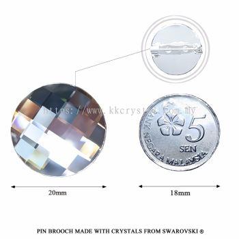 Pin Brooch Made With Crystals from Swarovski®, 2035 Chessboard Circle 20mm, CAL v SI