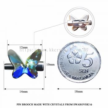 Pin Brooch Made With Crystals from Swarovski®, 2854 Butterfly 12mm, Crystal AB