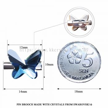 Pin Brooch Made With Crystals from Swarovski®, 2854 Butterfly 12mm, Denim Blue