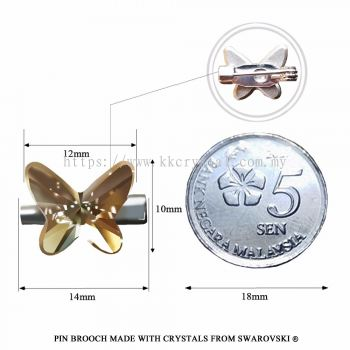 Pin Brooch Made With Crystals from Swarovski®, 2854 Butterfly 12mm, Golden Shadow