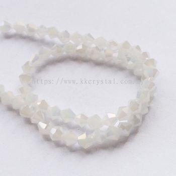 Crystal China, 4mm Bicone, B70 White Opal AB