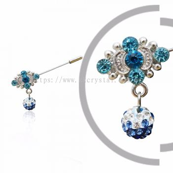 Pin Brooch 7015#, Blue, 2pcs/pack