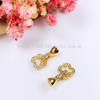 Clasp, Code 0283028, Clover, Gold Plated, 2pcs/pkt