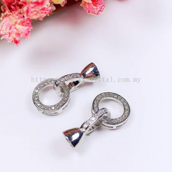 Clasp, Code 0283029 Round, White Gold Plated, 2pcs/pkt