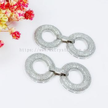 Clasp Round Shape, Code 0283022, White Gold Plated, 2pcs/pkt