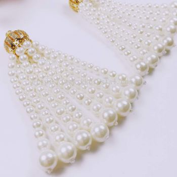 Tassel, Crown Charm & Pearl, Code 04#, Gold Plated, 2pcs/pkt
