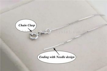 Necklace Venice, Needle, White Gold Plated, 5pcs/pkt